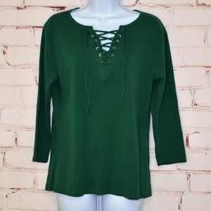 Tops - Green Casual Slim Fit V-Neck Lace Up Top